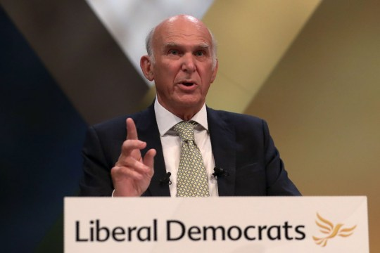 Britain's leader of the Liberal Democrats, Vince Cable delivers his Keynote Speech at the party's annual conference in Brighton, southern England, on September 18, 2018. (Photo by Daniel LEAL-OLIVAS / AFP)DANIEL LEAL-OLIVAS/AFP/Getty Images