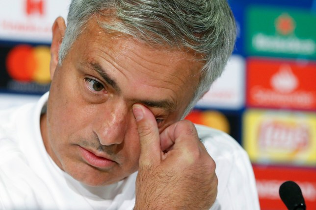 Manchester's head coach Jose Mourinho gestures during a press conference, a day prior to the Champions League group stage group H soccer match between BSC Young Boys Bern and Manchester United, at the Stade de Suisse in Bern, Switzerland, Tuesday, Sept. 18, 2018. (Peter Klaunzer/Keystone via AP)