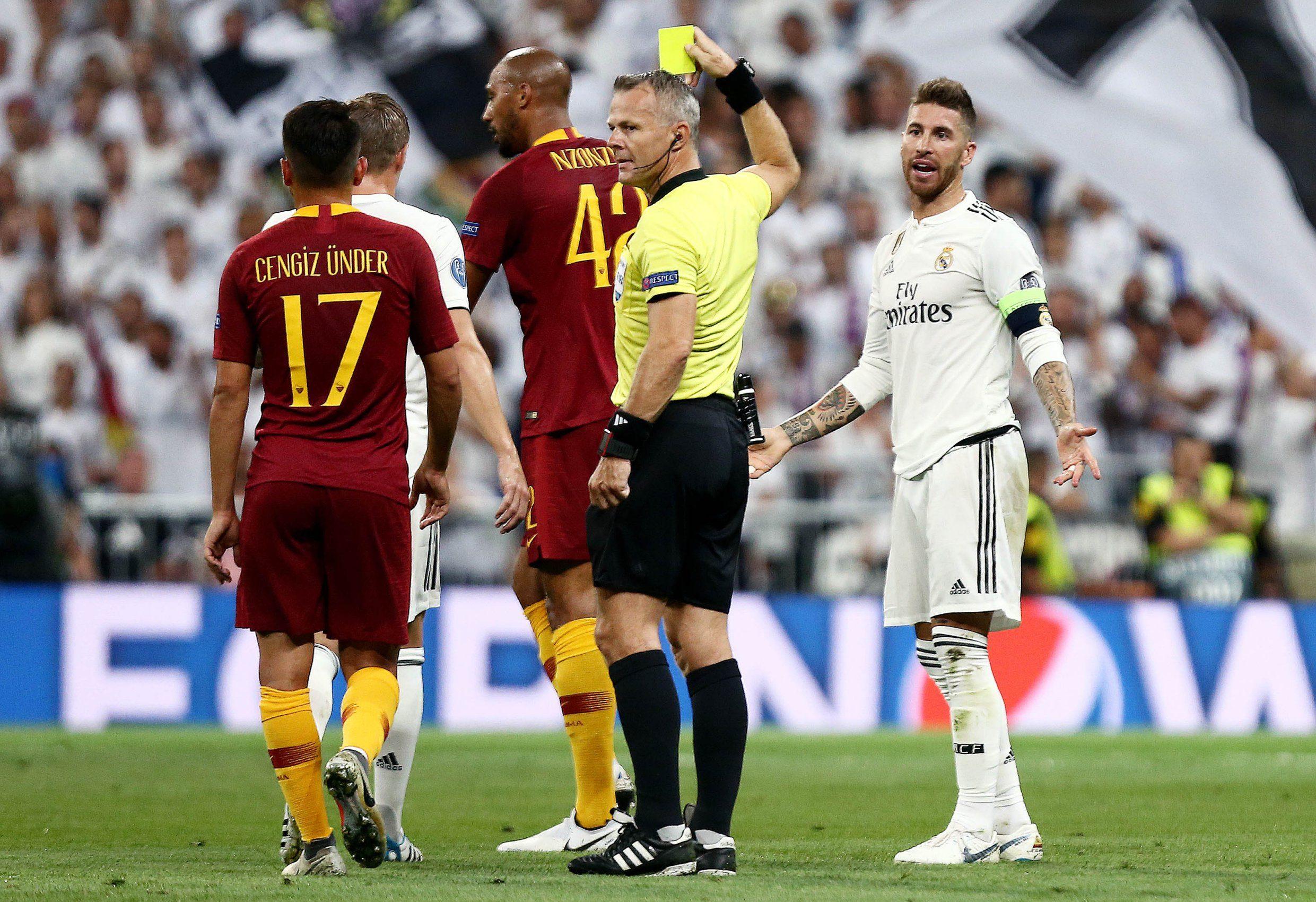 Mandatory Credit: Photo by James Marsh/BPI/REX (9887113j) Sergio Ramos of Real Madrid is shown a yellow card. Real Madrid v AS Roma, Group G, UEFA Champions League, Santiago Bernabeu Stadium, Madrid, Spain - 19 Sep 2018