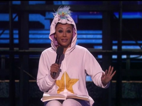 Simon Cowell could not be more embarrassed as Mel B makes stand up debut dressed in unicorn onesie on America's Got Talent finale