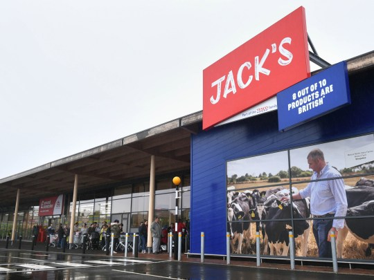 People queuing for the opening of Tesco's new Jack's store in Chatteris, Cambridgeshire, as it opens to the public for the first time. PRESS ASSOCIATION Photo. Picture date: Thursday September 20, 2018. The UK's biggest retailer is to launch a chain of discount stores in Britain called Jack's, after Jack Cohen, who founded a business in 1919 that became Tesco. See PA story CONSUMER Jacks. Photo credit should read: Joe Giddens/PA Wire