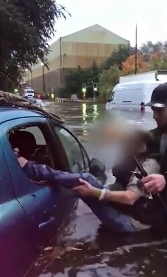 Hero drags elderly woman from car as Storm Bronagh hits..
