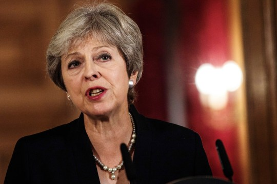 British Prime Minister Theresa May makes a statement on Brexit negotiations with the European Union, at 10 Downing Street, in London, Friday, Sept. 21, 2018. The British government on Friday accused the European Union of slamming the handbrake on Brexit negotiations, after the bloc said Prime Minister Theresa May's blueprint was unworkable. A rattled May insisted that her plan was the only one on the table ??? and that Britain was prepared to walk away from the EU without a deal if it was rejected. ( Jack Taylor/Pool Photo via AP)