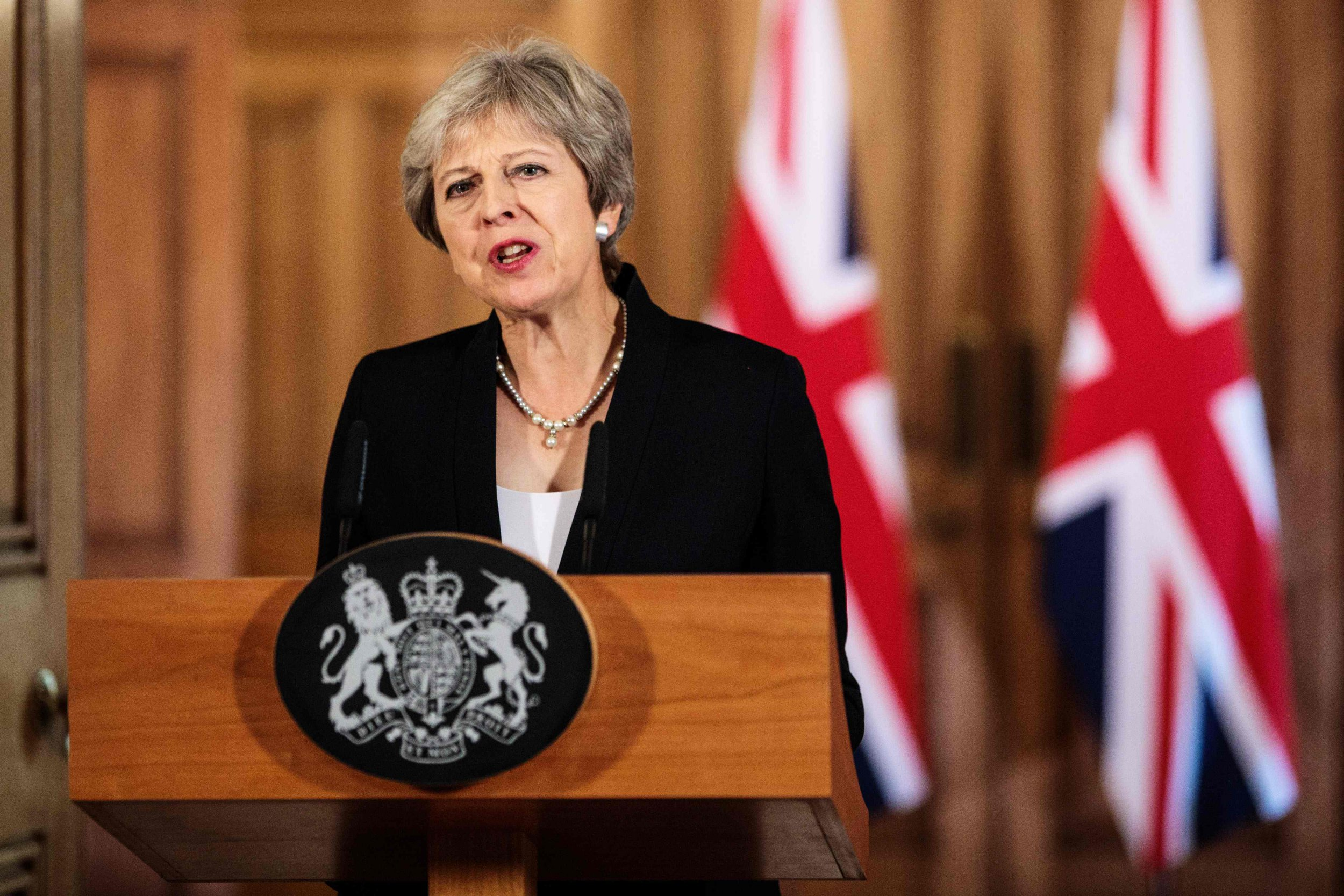"""Britain's Prime Minister Theresa May makes a statement on the Brexit negotiations following a European Union summit in Salzburg, at no 10 Downing Street, central London on September 21, 2018. - British Prime Minister Theresa May said Friday the European Union's abrupt dismissal of her Brexit plan was not acceptable, as she conceded talks were """"at an impasse"""". (Photo by Jack Taylor / POOL / Getty Images)JACK TAYLOR/AFP/Getty Images"""