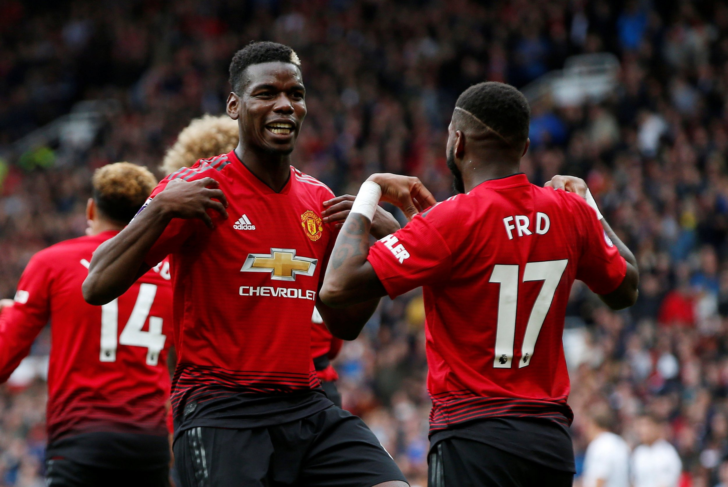 "Soccer Football - Premier League - Manchester United v Wolverhampton Wanderers - Old Trafford, Manchester, Britain - September 22, 2018 Manchester United's Fred celebrates scoring their first goal with Paul Pogba REUTERS/Andrew Yates EDITORIAL USE ONLY. No use with unauthorized audio, video, data, fixture lists, club/league logos or ""live"" services. Online in-match use limited to 75 images, no video emulation. No use in betting, games or single club/league/player publications. Please contact your account representative for further details."
