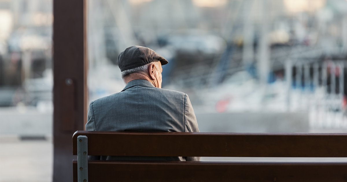 Old man sitting on a bench; Shutterstock ID 744827737; Purchase Order: -