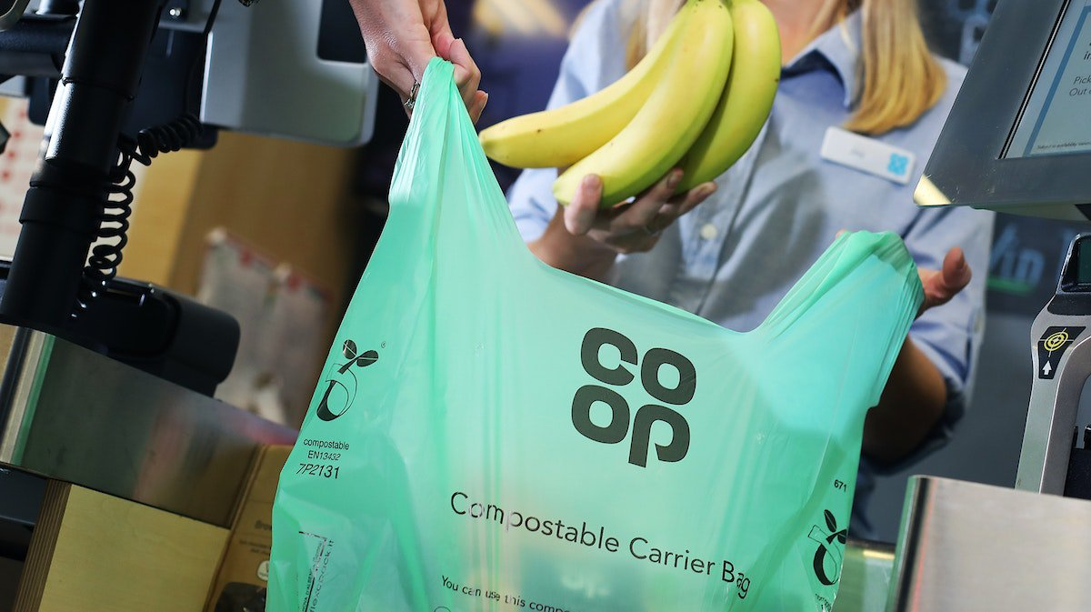 Co-op bans single-use plastics and unveils compostable carrier bags Credit: Co-op