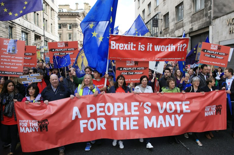 Members of the public march in support of the People's Vote campaign in Liverpool, during the Labour Party's annual conference at the Arena and Convention Centre (ACC). PRESS ASSOCIATION Photo. Picture date: Sunday September 23, 2018. See PA story LABOUR Main. Photo credit should read: Peter Byrne/PA Wire