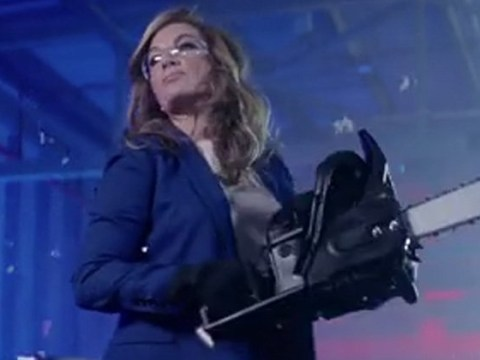 Karren Brady destroys tacky toys with a chainsaw in first trailer for The Apprentice