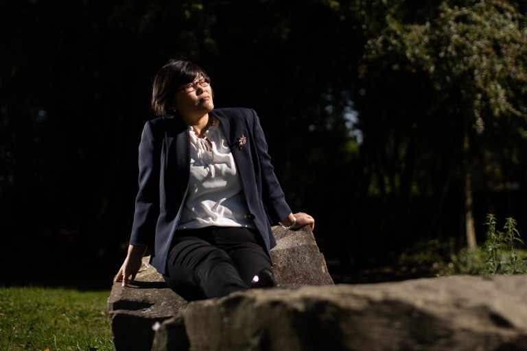 ? Joel Goodman for Metro - 07973 332324 . 25/09/2018 . Bury , UK . North Korean refugee JIHYUN PARK (50) in a park near to her home in Bury . Jihyun was imprisoned , tortured and trafficked by the regime in North Korea before she managed to escape with the help of her husband . Photo credit : Joel Goodman