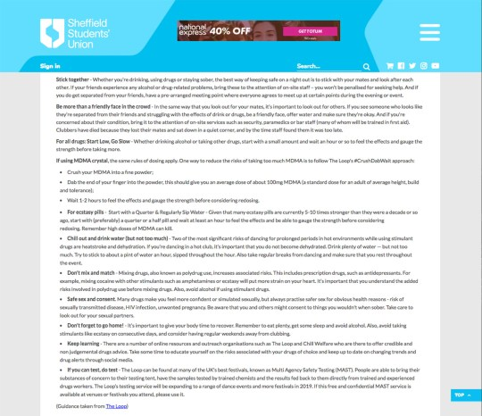 **COPYRIGHT UNKNOWN USE AT OWN RISK**PIC FROM Caters News - (PICTURED : Information on the Sheffield University website about drugs) - Horrified students have slammed university advice on how to take drugs safely which tells them to never inject alone.Information on the Sheffield University website telling students to take drugs with friends and giving instructions on how best to ingest class A substances such as crystalized MDMA and ecstasy.SEE CATERS COPY