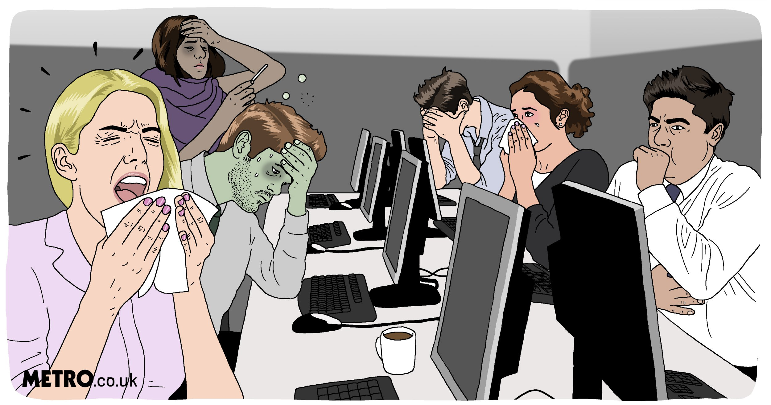 ILLO REQUEST: How to avoid the bug going around your office Picture: Dave Anderson / Metro.co.uk Metro Illustration / Illustrations