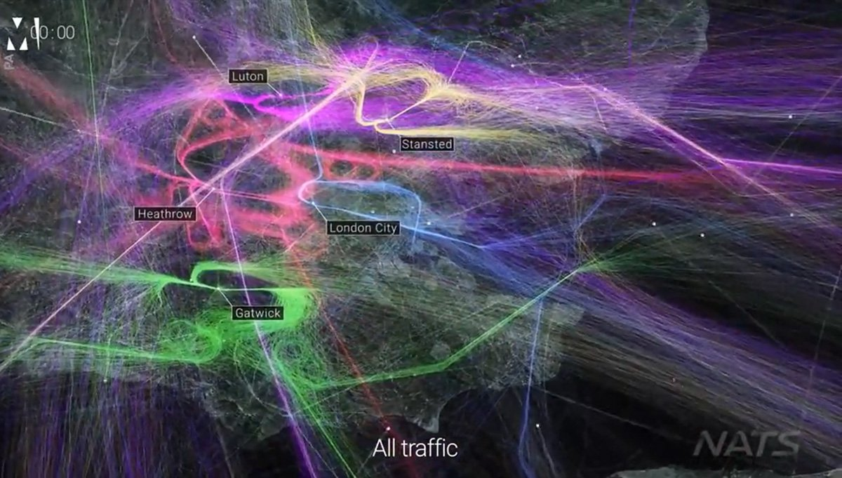 Beautiful colours over London are actually all the flight paths from last year