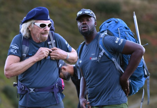 Sir Richard Branson and former gang leader Karl Lokko (right) setting out to climb Mont Blanc in the Alps on the final stage of the Virgin Strive Challenge. PRESS ASSOCIATION Photo. Picture date: Friday September 28, 2018. The challenge has seen a core team of 13 cycle, sea kayak, hike and climb their way from Sardinia across Western Europe. See PA story EDUCATION Exclusions Gangster. Photo credit should read: Joe Giddens/PA Wire