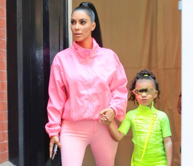 Reality star Kim Kardashian and her daughter North West are seen leaving their hotel in New York, NY. The mother and daughter are seen looking casually chic in bright pink and green while holding hands. Pictured: Kim Kardashian,North West Ref: SPL5029081 290918 NON-EXCLUSIVE Picture by: SplashNews.com Splash News and Pictures Los Angeles: 310-821-2666 New York: 212-619-2666 London: 0207 644 7656 Milan: +39 02 4399 8577 Sydney: +61 02 9240 7700 photodesk@splashnews.com World Rights,