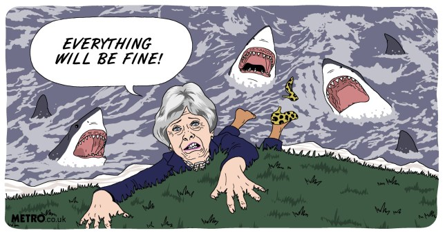 Illustration request: Theresa May is on a cliff edge but there's nobody willing to push her off Picture: Dave Anderson for Metro.co.uk