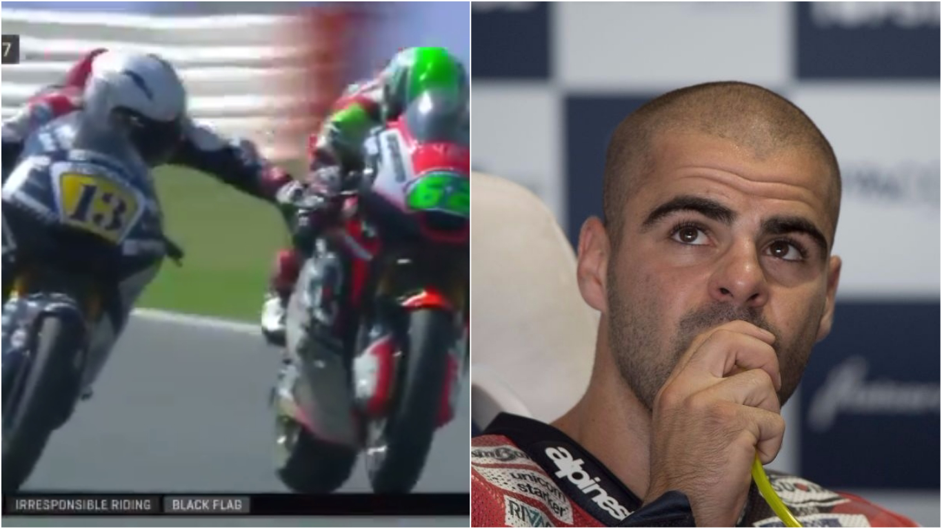 Motorbike rider who grabbed rival's brakes during race sacked