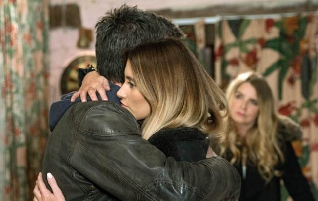 Cain and Debbie hug in Emmerdale