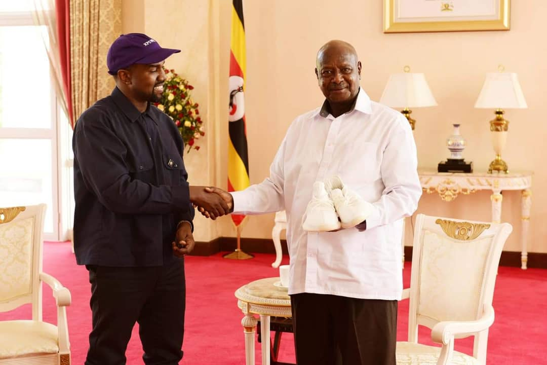 Kanye West and Kim Kardashian gifted Ugandan president a pair Yeezys and people have some thoughts