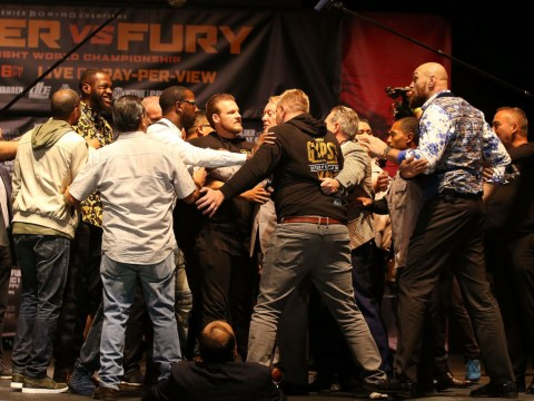 Deontay Wilder and Tyson Fury lunge at each other in explosive LA press conference