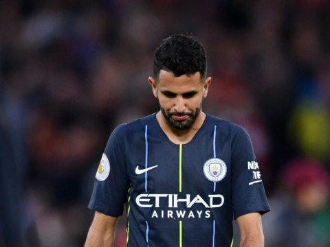 Manchester City boss Pep Guardiola reacts to Riyad Mahrez's shocking penalty miss v Liverpool