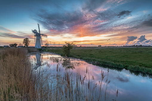 Sunset at Thurne Mill on the Norfolk Broads - there is plenty on the Broads to populate your Instagram feed (Picture: Getty)