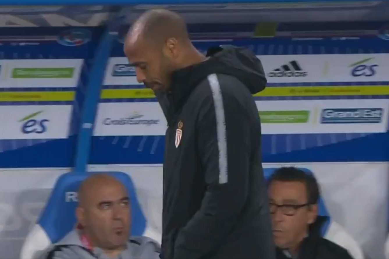 Thierry Henry reacts to howler from Monaco goalkeeper Seydou Sy in first match