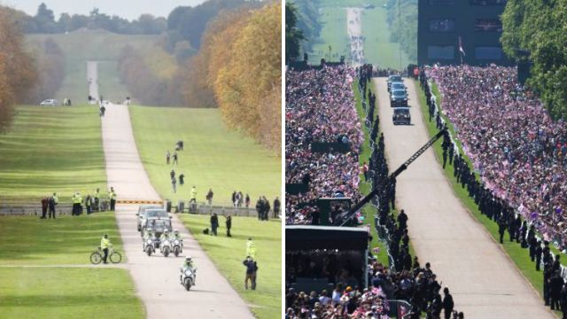 Crowds at Eugenie's wedding look a little thin compared to Harry's