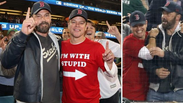 Ben Affleck looks back to his best as he celebrates Red Sox win with BFF Matt Damon