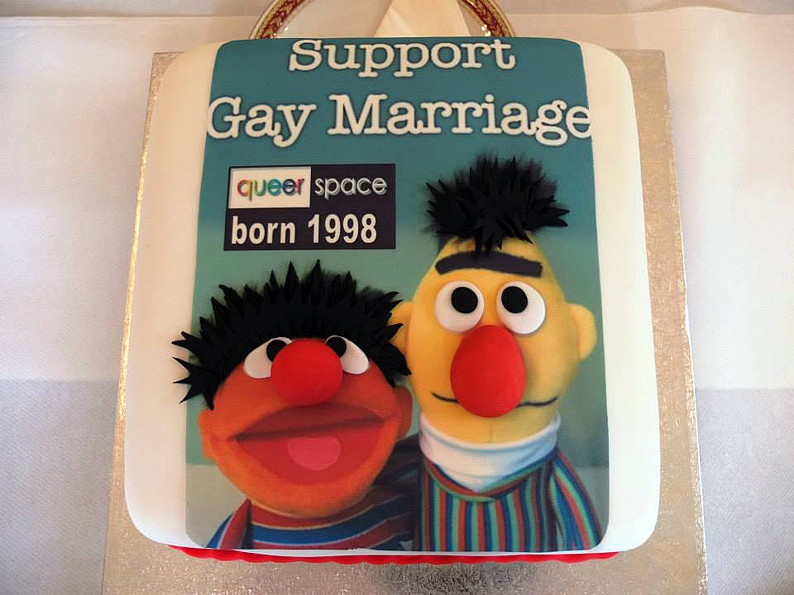 """The """"gay cake"""" this one made by another bakery with the design support Gay Marriage with the faces of Sesame Streets Bert and Ernie. A judge has ruled that a Christian-run bakery discriminated against a gay customer by refusing to make a cake with a pro-gay marriage slogan. Ashers Baking Company, based in County Antrim, was taken to court by gay rights activist Gareth Lee. A Belfast judge said, as a business, Ashers was not exempt from discrimination law. pic posted on social network Picture by Pixel8000 07917221968"""
