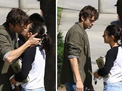 Ashton Kutcher and Mila Kunis share passionate kiss after three years of marriage in rare PDA