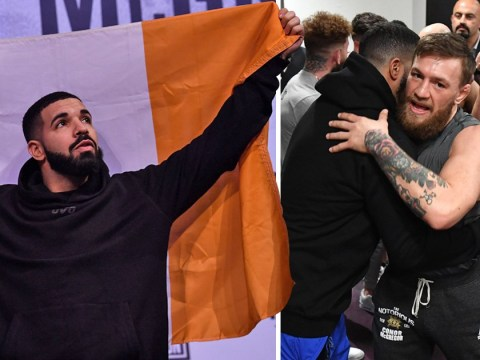 Drake moonlights as Conor McGregor's hypeman as he holds Irish flag at UFC 229 weigh-in