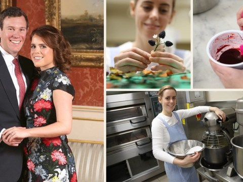 Work begins on Princess Eugenie's red velvet and chocolate wedding cake in the Buckingham Palace kitchens