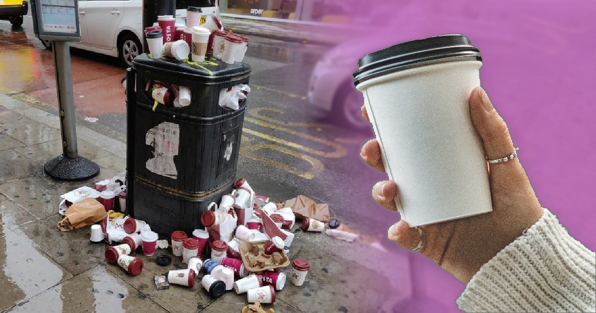 Time for a coffee cup tax? This is the state of a London bin a Saturday morning