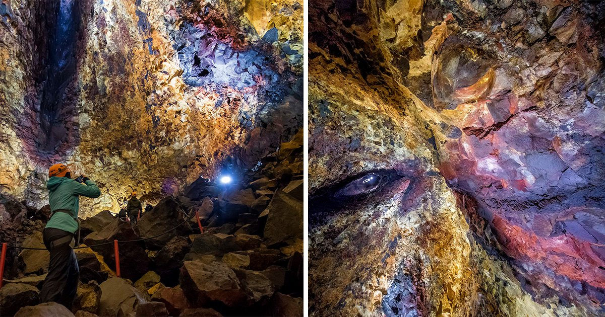 Stunning images show incredible colours created by nature inside dormant volcano