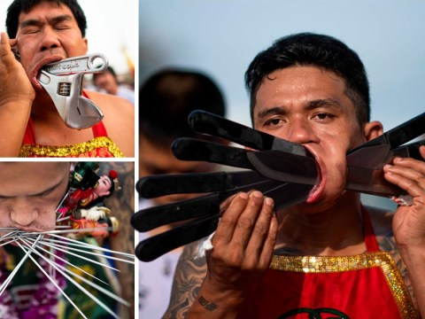 These extreme piercings at a vegetarian festival will leave you wincing