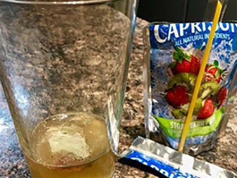 Tiny puncture turns Capri Sun into clump of mould