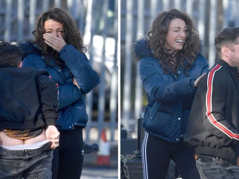 Michelle Keegan can't keep a straight face as Brassic co-star flashes himself on set