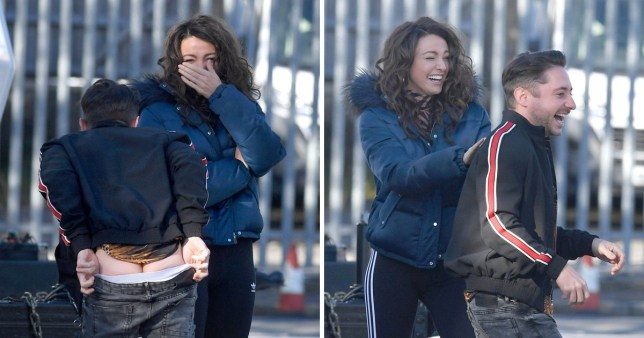 Michelle Keegan can't keep a straight face as Brassic co-star moons in front of her on set