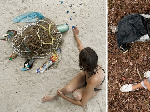 Mum creates art out of litter she found at the beach and on the streets