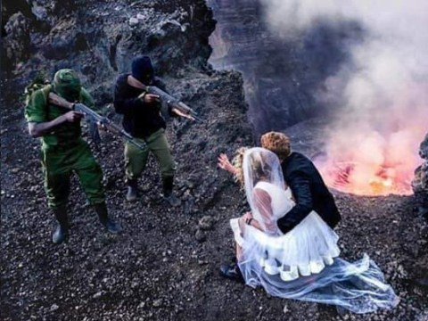 Couple slammed for 'racist' wedding photos at gunpoint in 'Congo ghetto'