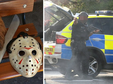 'Masked killers' surrounded by armed police were just dressing up for Halloween