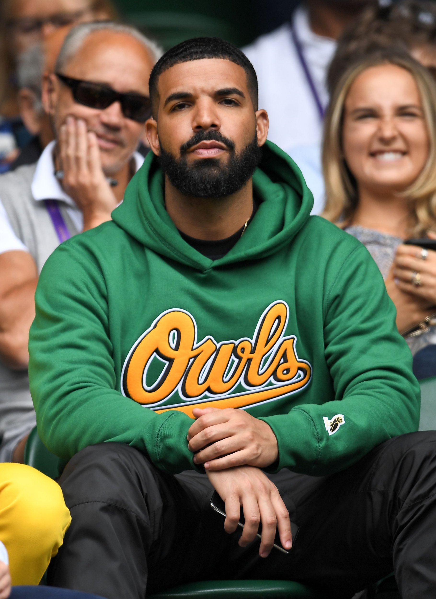 Mandatory Credit: Photo by James Gourley/BPI/REX/Shutterstock (9748019cu) Drake on Centre Court Wimbledon Tennis Championships, Day 8, The All England Lawn Tennis and Croquet Club, London, UK - 10 Jul 2018