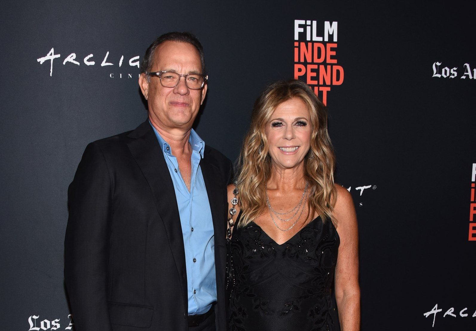 """CULVER CITY, CA - SEPTEMBER 21: Tom Hanks (L) and Rita Wilson attend the screening of """"Simple Wedding"""" during the 2018 LA Film Festival at ArcLight Culver City on September 21, 2018 in Culver City, California. (Photo by Araya Diaz/Getty Images for Film Independent)"""