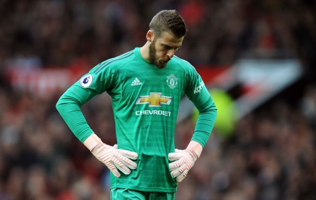 20e7c818f2a Manchester United goalkeeper David de Gea reacts during the English Premier  League soccer match between Manchester
