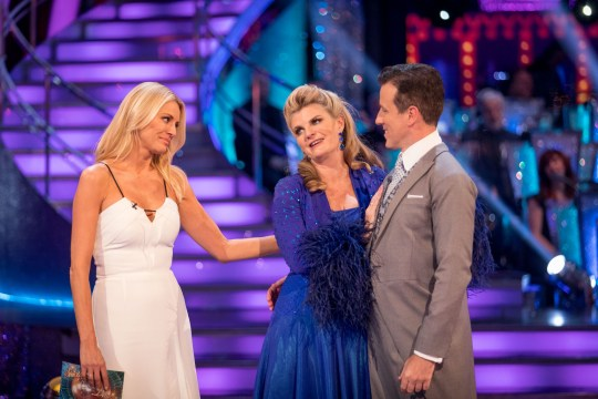 EMBARGOED TO 2000 SUNDAY SEPTEMBER 30 For use in UK, Ireland or Benelux countries only Undated BBC handout photo of Susannah Constantine and Anton Du Beke, with host Tess Daly, after they become the first couple to be voted out of BBC1's Strictly Come Dancing. PRESS ASSOCIATION Photo. Issue date: Sunday September 30, 2018. See PA story SHOWBIZ Strictly. Photo credit should read: Guy Levy/BBC/PA Wire NOTE TO EDITORS: Not for use more than 21 days after issue. You may use this picture without charge only for the purpose of publicising or reporting on current BBC programming, personnel or other BBC output or activity within 21 days of issue. Any use after that time MUST be cleared through BBC Picture Publicity. Please credit the image to the BBC and any named photographer or independent programme maker, as described in the caption.