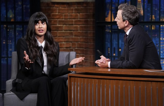 LATE NIGHT WITH SETH MEYERS -- Episode 741 -- Pictured: (l-r) Actress Jameela Jamil during an interview with host Seth Meyers on October 1, 2018 -- (Photo by: Lloyd Bishop/NBC/NBCU Photo Bank via Getty Images)