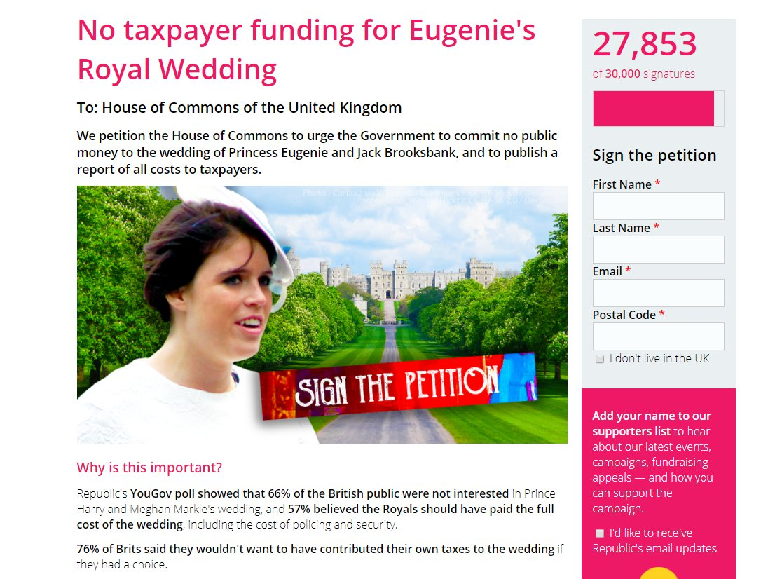 Petition to urge the Government to commit no public money to the wedding of Princess Eugenie and Jack Brooksbank, and to publish a report of all costs to taxpayers (Picture: Republic.org.uk)