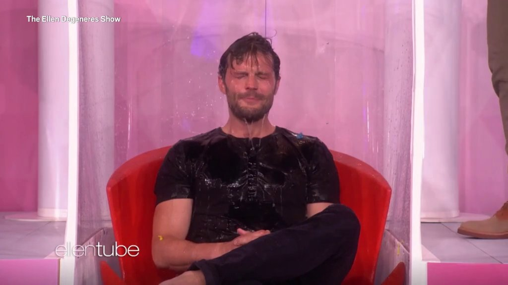 Jamie Dornan gets soaking wet for charity on Ellen and it's all your Christmases come at once
