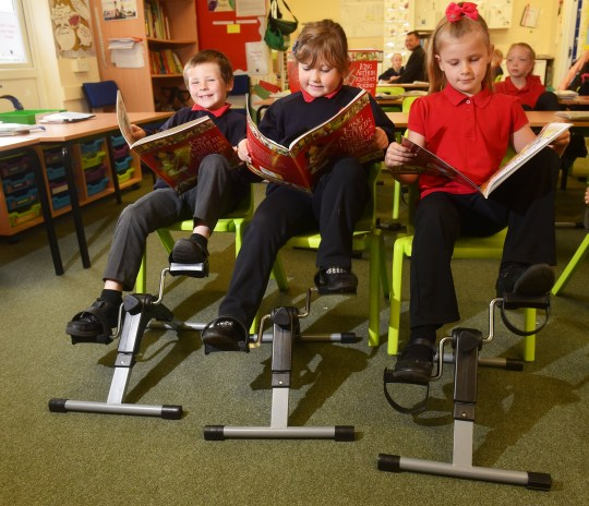 ARCHANT SYNDICATION - Diane Townsend (01603 772449 ) - to Daily Mail newspaper... Red Oak Primay School, Lowestoft, have installed desk pedals to help keep the youngsters fit. Picture: Nick Butcher